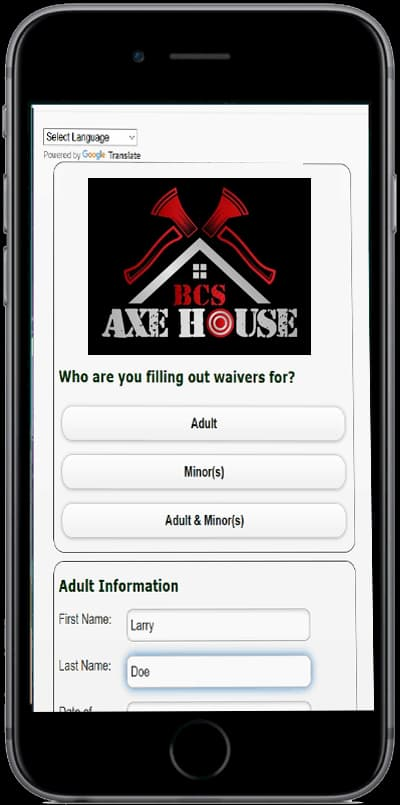 online waivers BCS Axe House